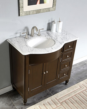Left Side Sink Vanity : 38 Inch Modern Single Bathroom Vanity with White Marble Top ...