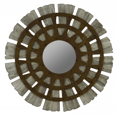 Vanity Lights Overlay Mirror : Zhubin Gray Wash with Rusted Metal Overlay Round Mirror UVCC40579