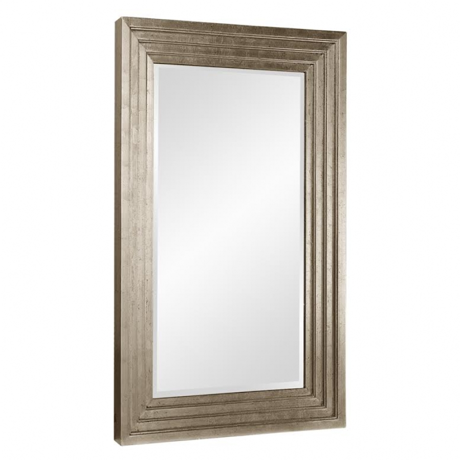 Delano small rectangular bright stepped silver leaf mirror for Small silver mirror