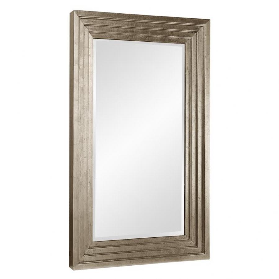 Delano small rectangular bright stepped silver leaf mirror for Small silver mirror