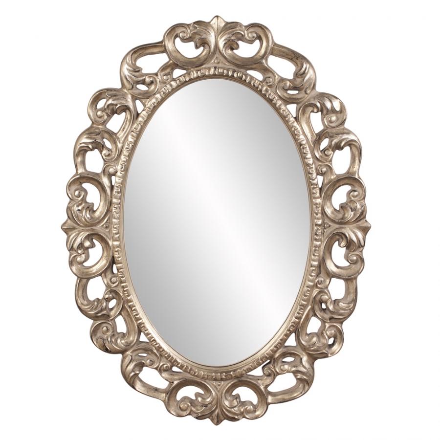 Ansel oval silver leaf ornate mirror uvhe43131 for Ornate mirror