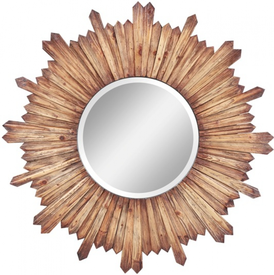 Catherine natural rustic wood round mirror uvcc4973 for Round wood mirror