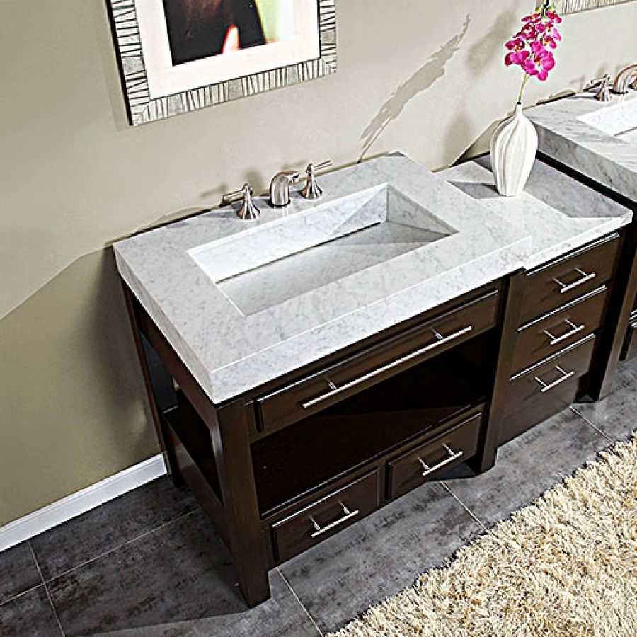 56 Inch Single Sink Cabinet With Espresso Finish And White