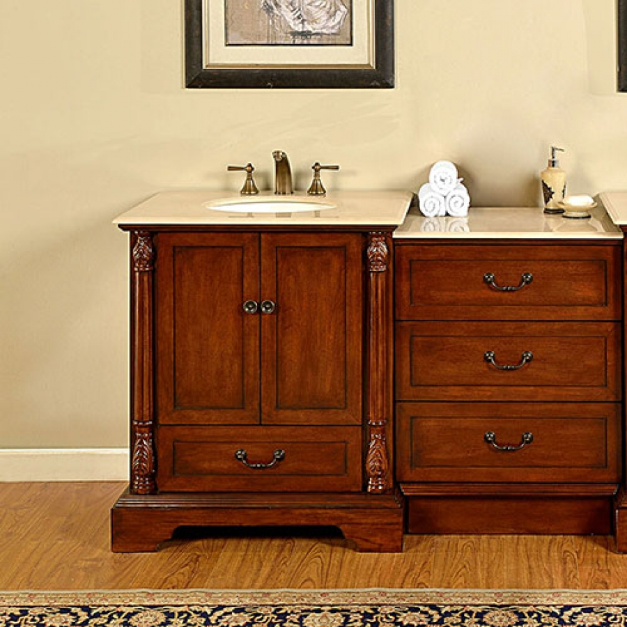 56 Inch Single Sink Bathroom Vanity With Cream Marfil