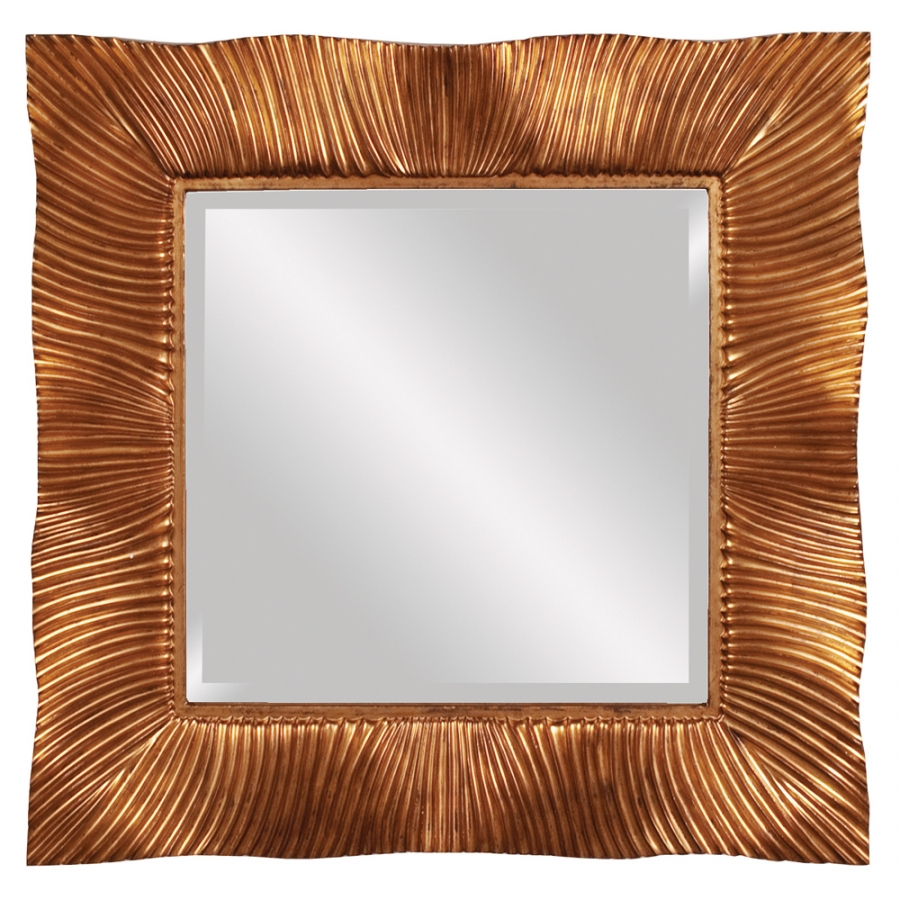 Terrance Textured Gold Leaf With Copper Accents Mirror Uvhe56057