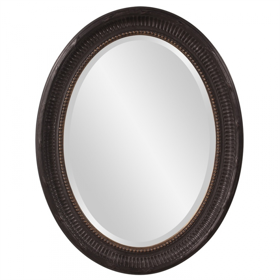 Nero Rustic Black With Gold Highlights Oval Mirror Uvhe56104