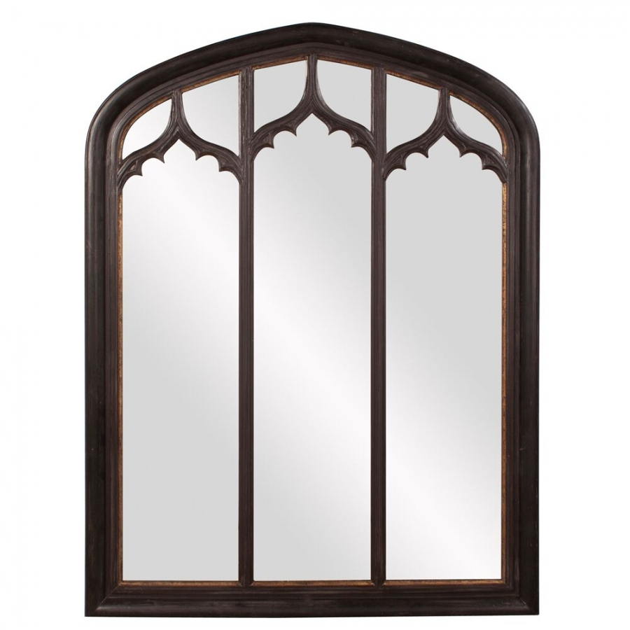 Thomas arched rustic black mirror uvhe56123 for Rustic mirror