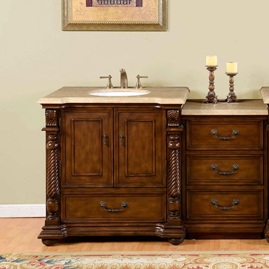 home 57 inch single sink bathroom vanity with extra bank of drawers