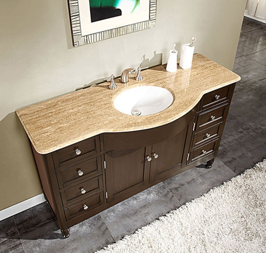 58 inch single sink bathroom vanity with travertine top for Bath vanities with tops