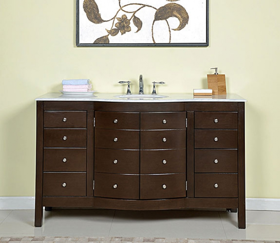 60 inch single sink bathroom vanity in dark walnut - 72 inch single sink bathroom vanity ...