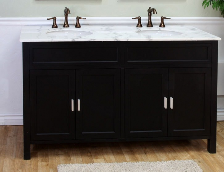 60 Inch Double Sink Bathroom Vanity In Ebony Uvbh60016860b60