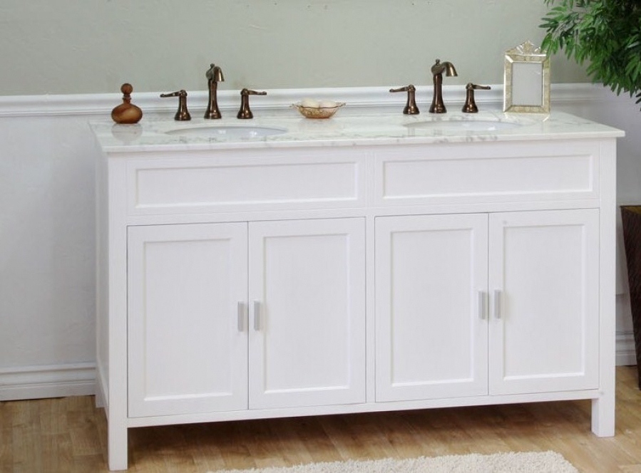 Brilliant 60inch Malibu Pure White Double Sink Bathroom Vanity With Carrara