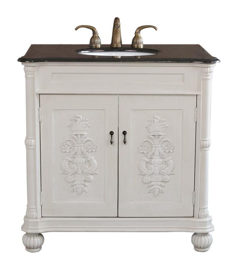 36 Inch Single Sink Bathroom Vanity In Antique White UVBH602335AW36