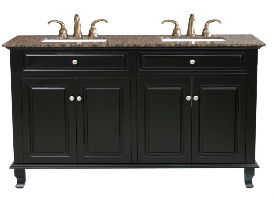 62 Inch Double Sink Bathroom Vanity In Ebony Uvbh60321562bb62