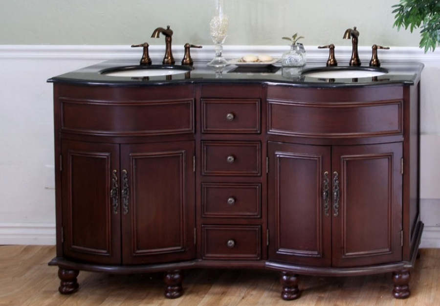 62 Inch Double Sink Bathroom Vanity In Colonial Cherry