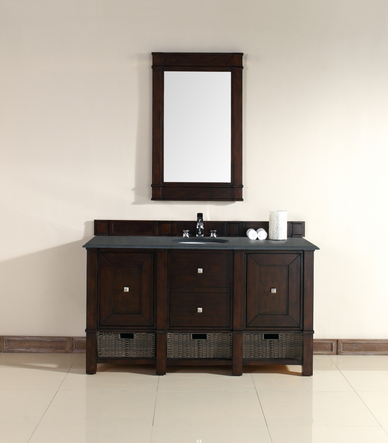 60 inch single sink bathroom vanity in burnished mahogany for Bathroom 60 inch vanity