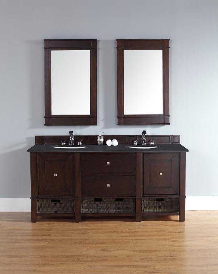 72 Inch Double Sink Bathroom Vanity With Wicker Baskets