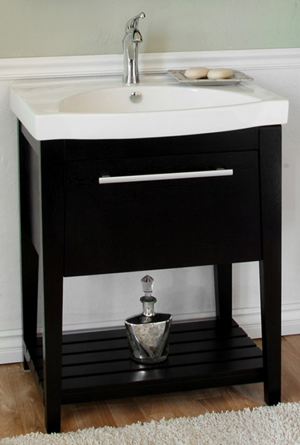 27 5 Inch Black Single Sink Bathroom Vanity