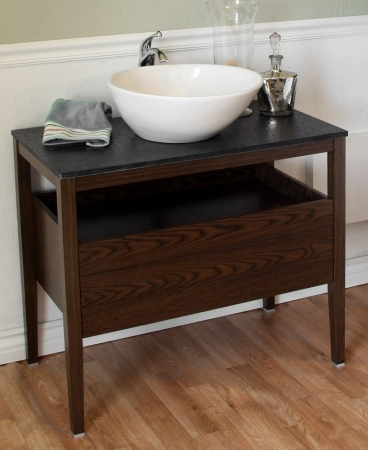 35.5 Inch Single Sink Bathroom Vanity with a Dark Walnut ...