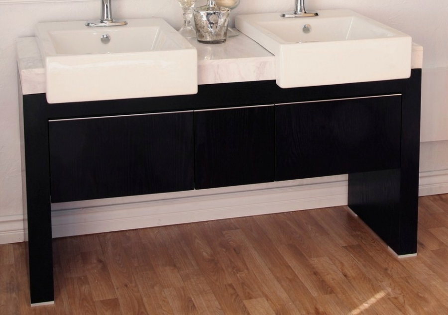 Inch Double Sink Bathroom Vanity With A Black Finish Uvbh80437557