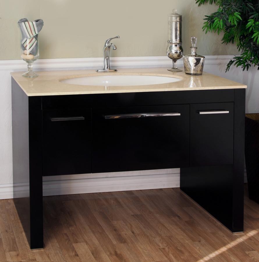 55.3 Inch Single Sink Bathroom Vanity with a Dark Walnut ...