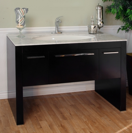 55 3 inch single sink bathroom vanity with dark walnut finish and white marble uvbh804380wht55. Black Bedroom Furniture Sets. Home Design Ideas