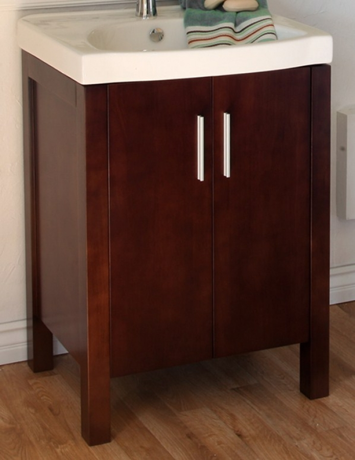 24 Inch Single Sink Bathroom Vanity With A Dark Walnut Finish Uvbh80438124