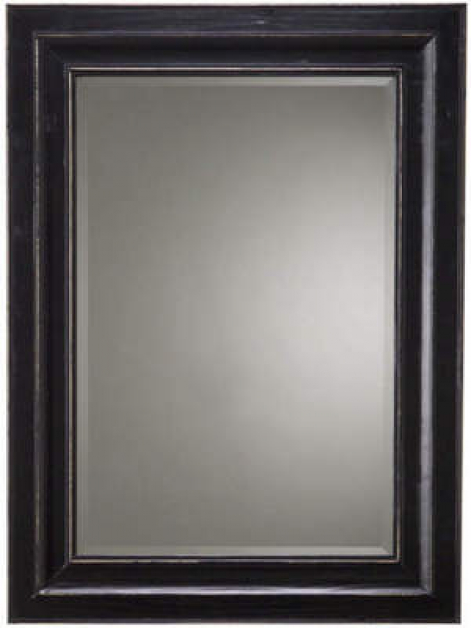 Bar Harbour Beveled Mirror With Black Matte Distressed