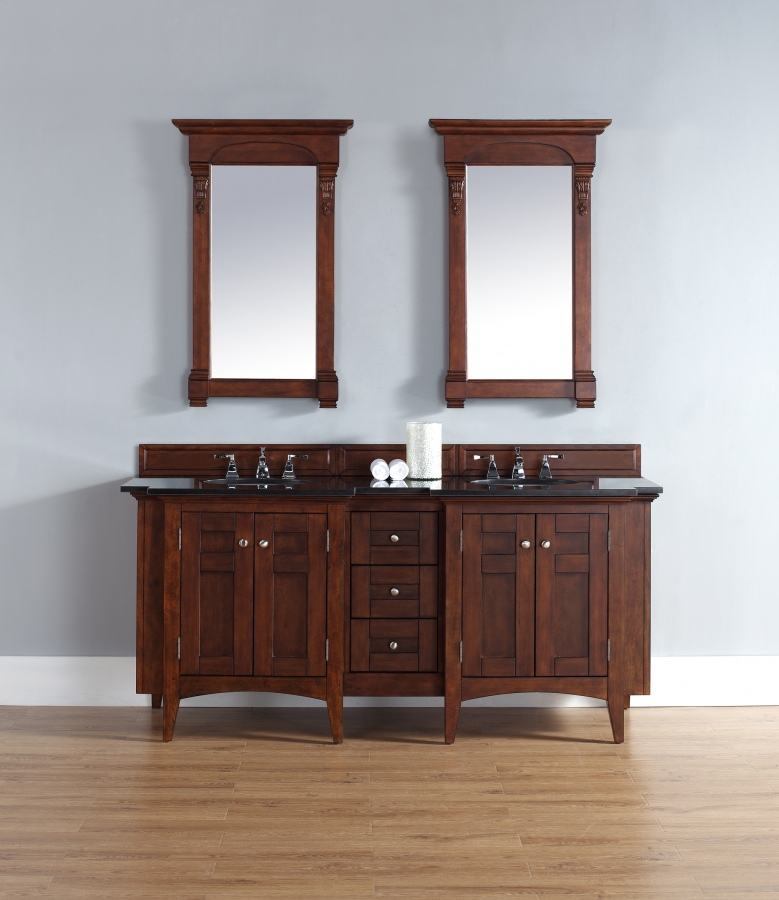 72 Inch Double Sink Bathroom Vanity In Warm Cherry UVJMF900V72WCHABK72