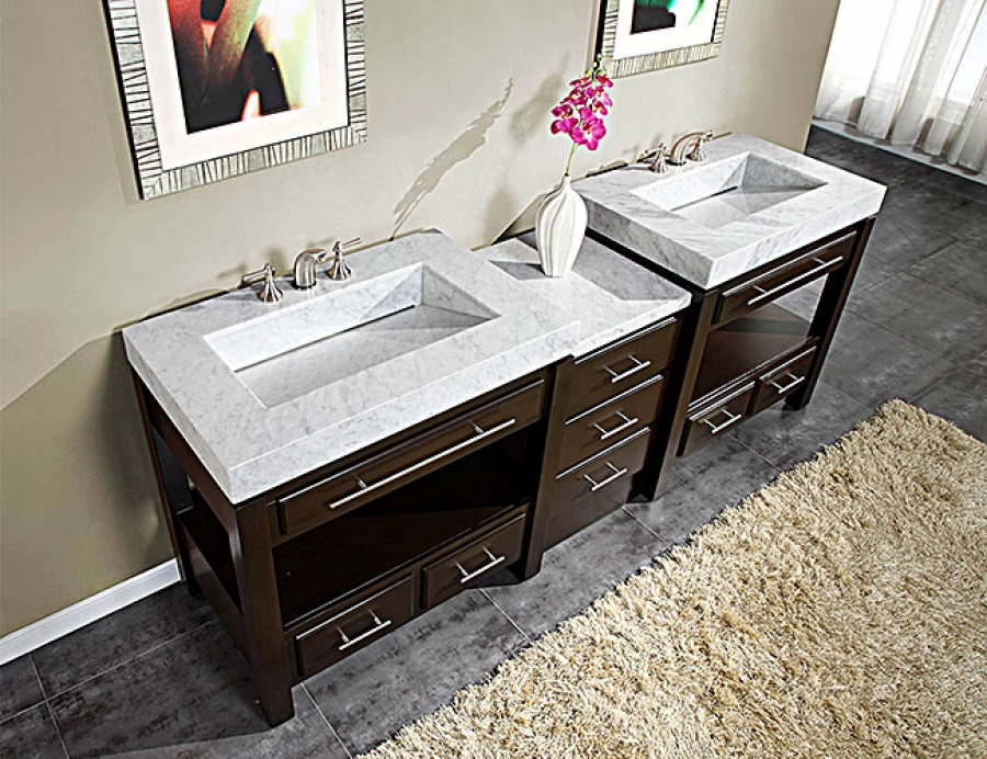 92 Inch Double Sink Cabinet With Espresso Finish And White