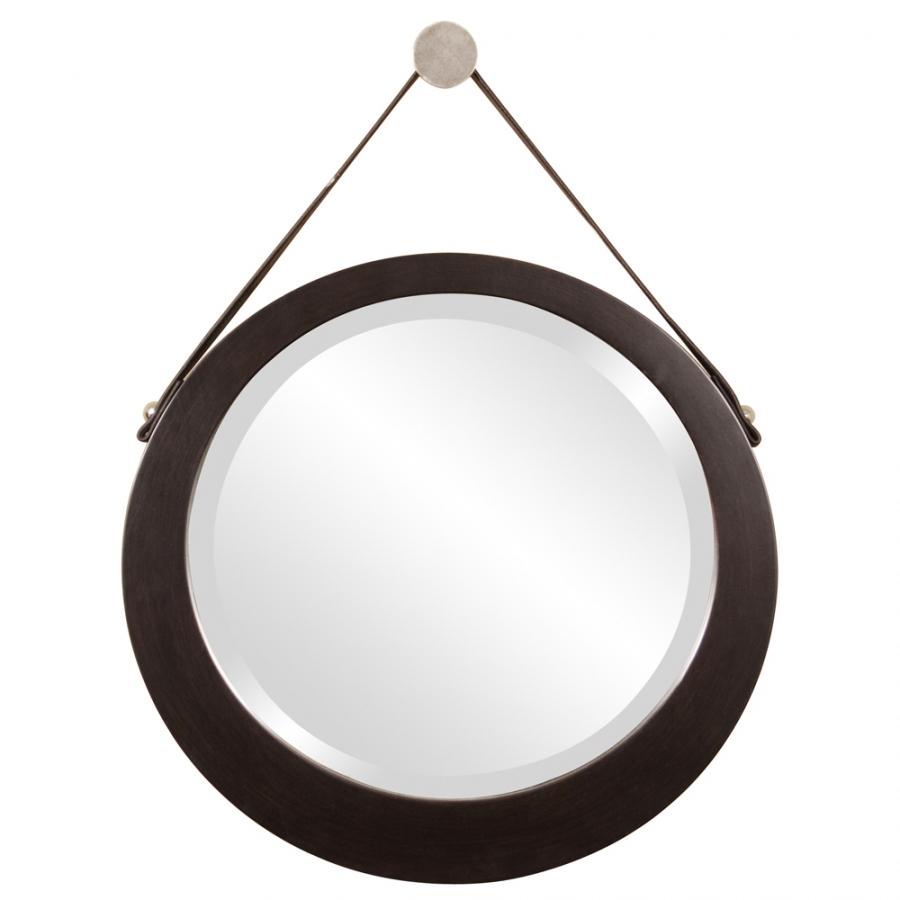 Bloom Espresso Round Mirror With Hanging Leather Strap