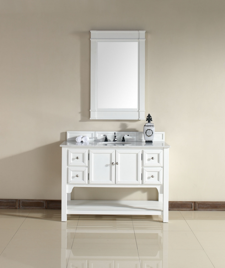 48 inch single sink bathroom vanity with guangxi white for Bathroom 48 inch vanity