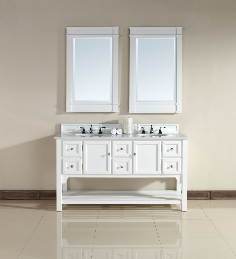 60 inch double sink bathroom vanity with guangxi white for Bathroom 60 inch double vanities