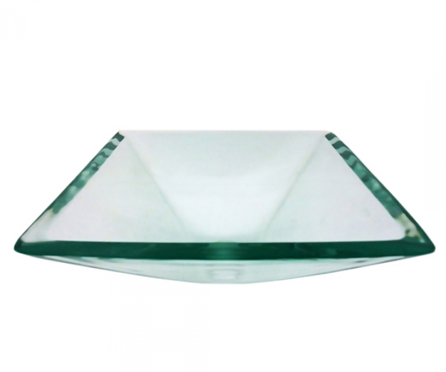 Square Clear Glass Vessel Sink Bowl