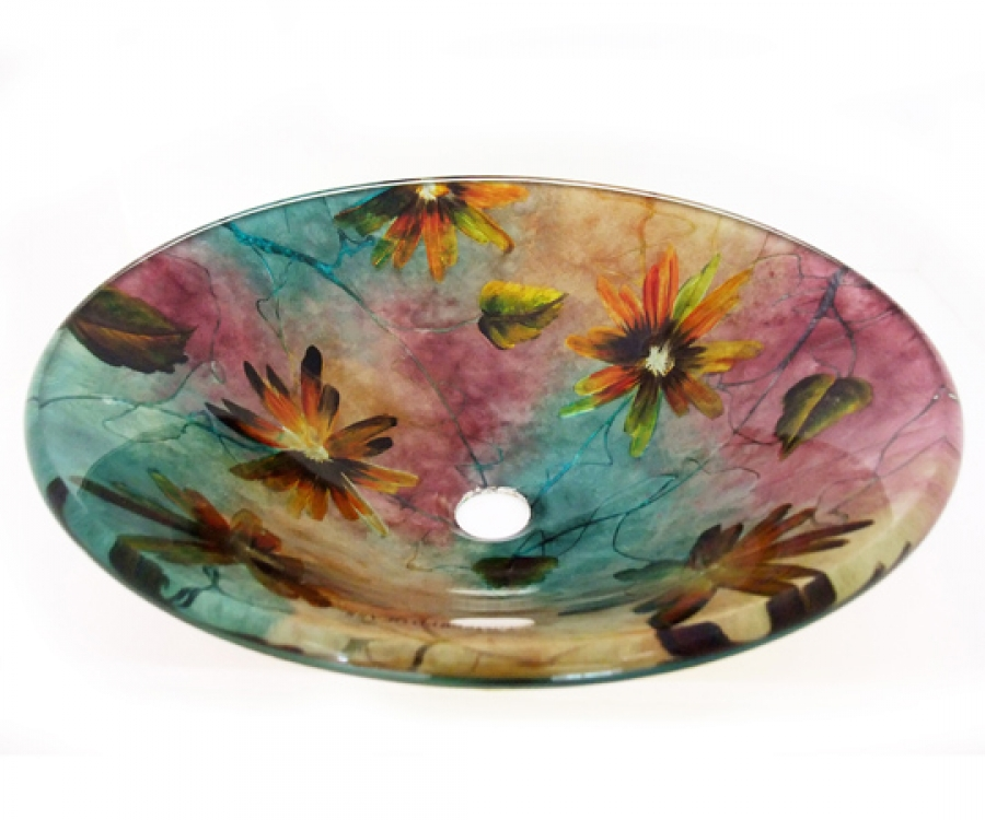 Multi Colored Round Glass Vessel Sink 184 Uvlfa184