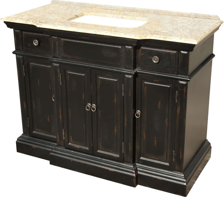 48 inch single sink bathroom vanity with a distressed 48 inch bathroom vanity