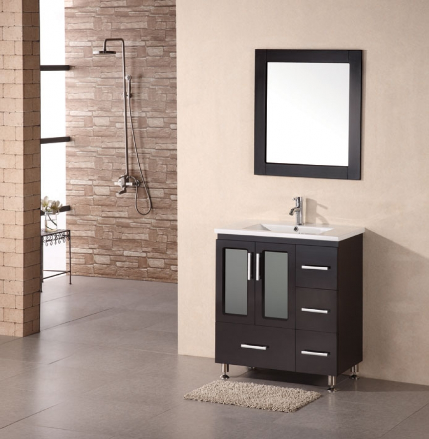 Inch Modern Single Sink Bathroom Vanity In Espresso UVDEBDS - Mirror size for 30 inch vanity