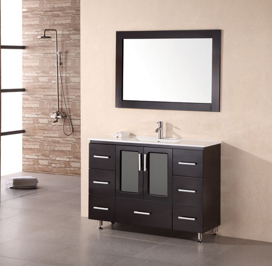 Modern Single Sink Vanity : Home > 48 Inch Modern Single Sink Bathroom Vanity in Espresso Finish