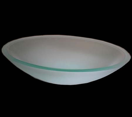Oval Semi Frosted Glass Vessel Sink