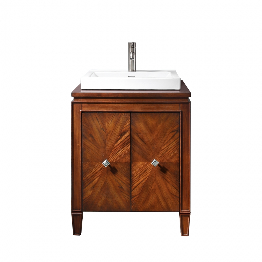 home 25 inch single sink bathroom vanity with semi recessed sink