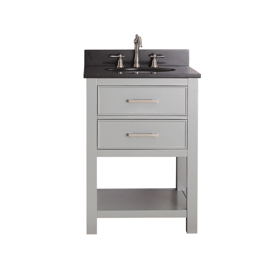 24 inch single sink bathroom vanity in chilled gray for Bathroom 24 inch vanity