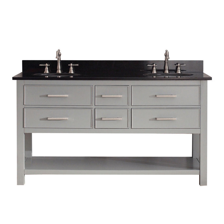 60 Inch Double Sink Bathroom Vanity In Chilled Gray