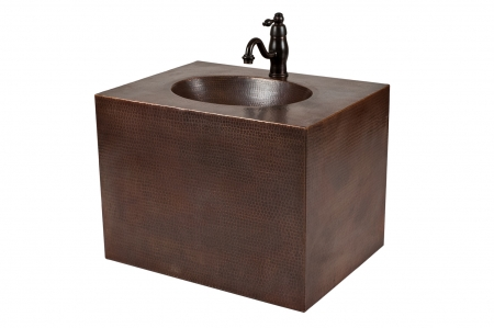 24 Inch Hand Hammered Copper Wall Mount Single Vanity