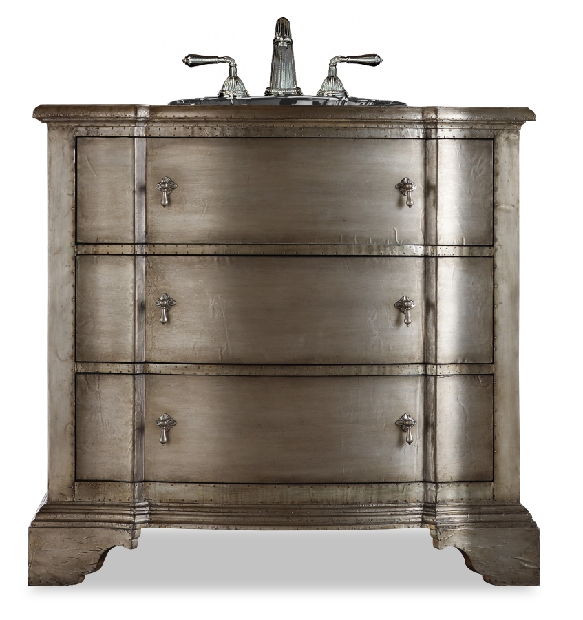 38 25 Inch Single Sink Bathroom Vanity In Antique Silver