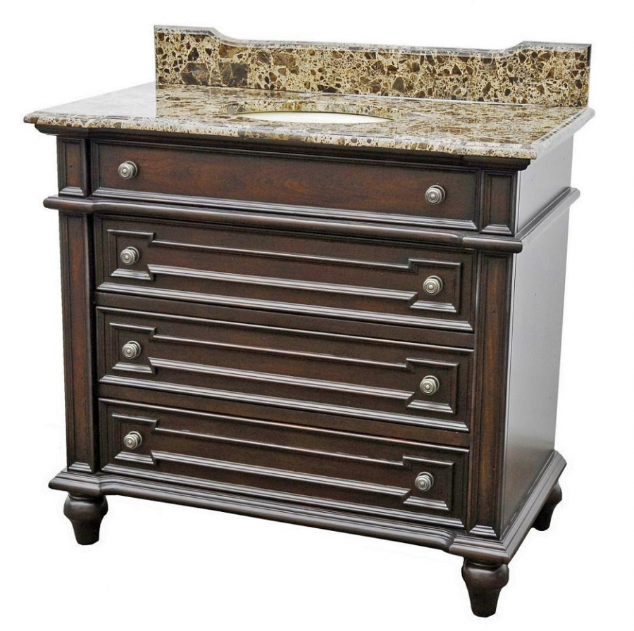 40 Inch Single Sink Bathroom Vanity With Brown Parquet