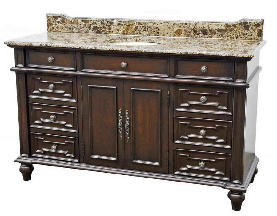60 inch single sink bathroom vanity with antique brown finish and 8 drawers uvcd78160s60 60 in bathroom vanities with single sink