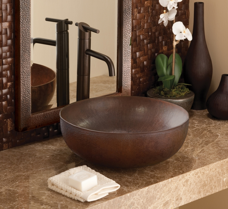 Antique copper vessel bathroom sink uvntcps263 Antique bathroom vanity with vessel sink