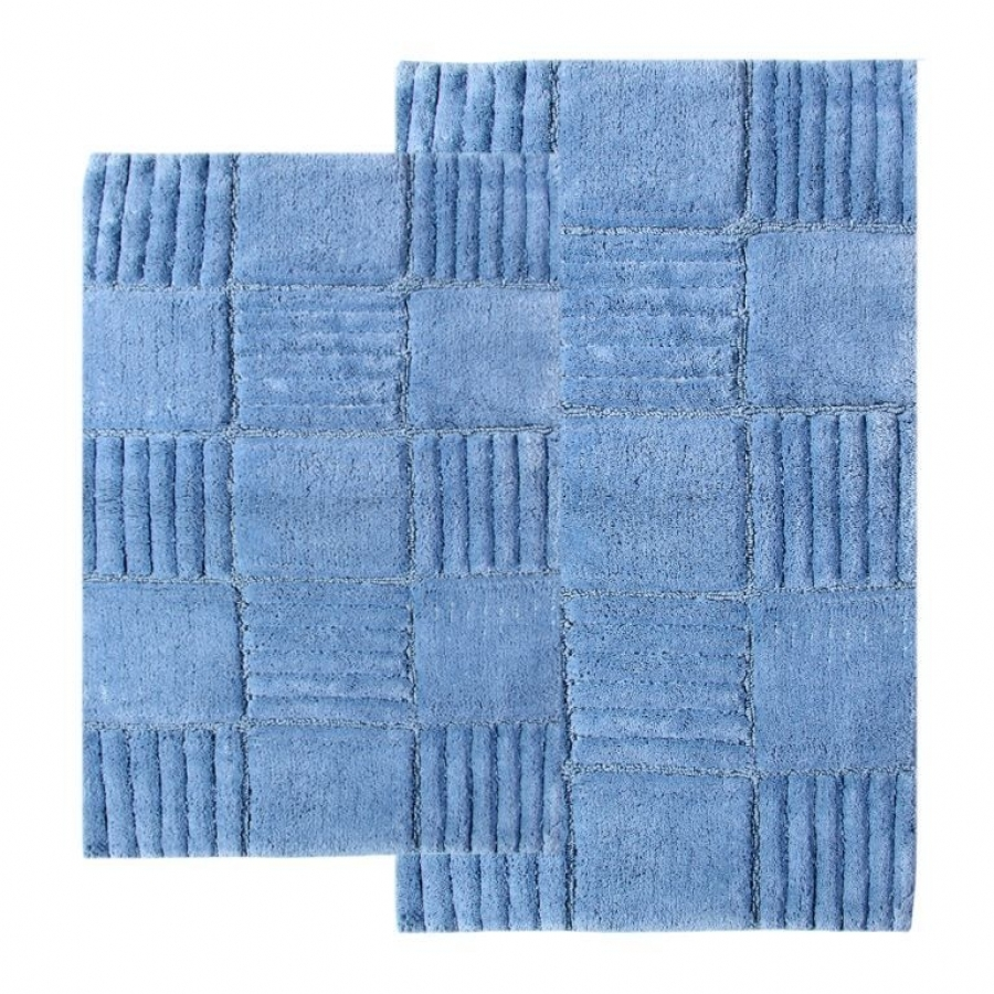 Checkered Bath Rug: 2 Piece Checkerboard Bath Rug Set In Smoke Blue UVCM14569