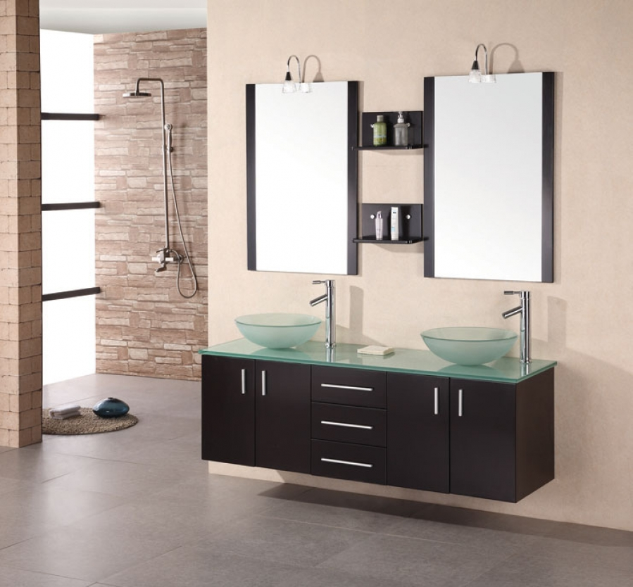 61 inch modern double vessel sink bathroom vanity in - Contemporary double sink bathroom vanity ...