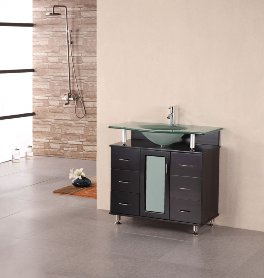 ... Modern Single Sink Vanity With Frosted Glass Countertop And Sink ·  Loading Zoom